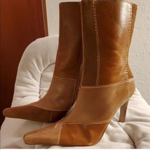 Camel ankle boots